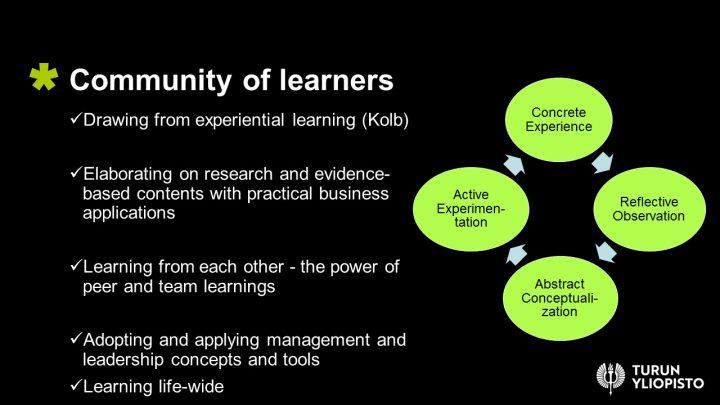 Community of learners -kaaviokuva osaajien yhteisön toiminnasta yrityskohtaisia ohjelmia varten