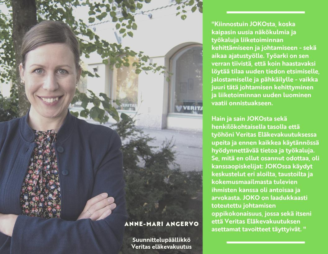 Veritas eläkevakuutuksen suunnittelupäällikkö Anne-Mari Angervon kokemuksia JOKO -koulutuksesta. Anne-Mari sai JOKO:sta paljon uusia työkaluja.