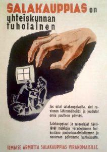 """Joel Räsäsen suunnittelema kansanhuoltoministeriön juliste """"Salakauppias on yhteiskunnan tuholainen""""."""