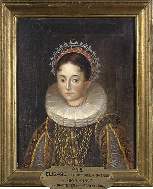 Kustaa Vaasan tytär Elisabet Mecklenburg (1549–1597) noin 1580. Taiteilija tuntematon. Kuva: Ruotsin kansallismuseon kokoelmat.