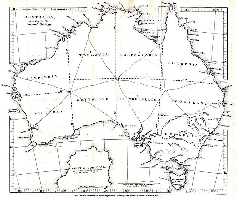 John Arrowsmith, joka laati karttoja Royal Geographical Societyn julkaisua ja parlamentin raportteja varten, oli 1800-luvun aikana ensisijainen Australiaa kuvaavien karttojen laatija. Oheiset kaksi karttaa Arrowsmith laati julkaistavaksi RGS:n lehden artikkelien ohessa: tässä kartassa havainnollistetaan kapteeni James Vetchin ehdotusta Australian aluejaosta vuonna 1838 ja toisessa tutkimusmatkailija Ludwig Leichardtin reittiä Moreton Baysta Port Essingtoniin vuonna 1846. Lähde: Journal of the Royal Geographical Society, vol. 8.