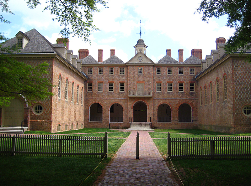 Rear view of the Wren Building, College of William and Mary in Williamsburg, Virginia.