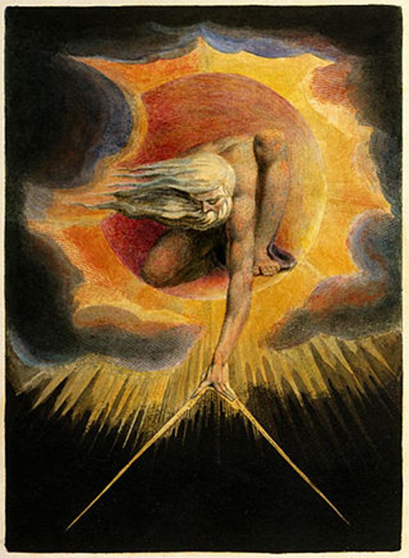 Myytit eivät ole vain osa uskontoa, vaan ne vaikuttavat koko kulttuurin maailmankuvan taustalla. Myytit kuvaavat usein sitä, miten maailmanjärjestys on syntynyt. Kuva: William Blake, The Ancient Of Days, 1794. Wikimedia Commons.