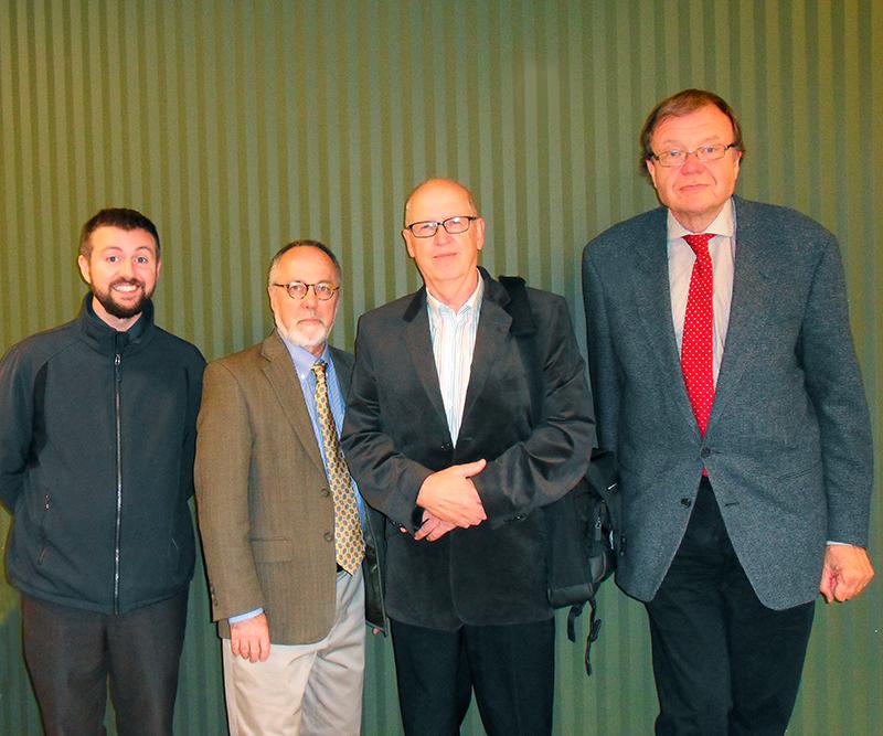 Seminaarissa puhuivat Aaron Goings (vas.), Peter Kivisto, Auvo Kostiainen ja Dag Blanck. Kuva: Johanna Skurnik.