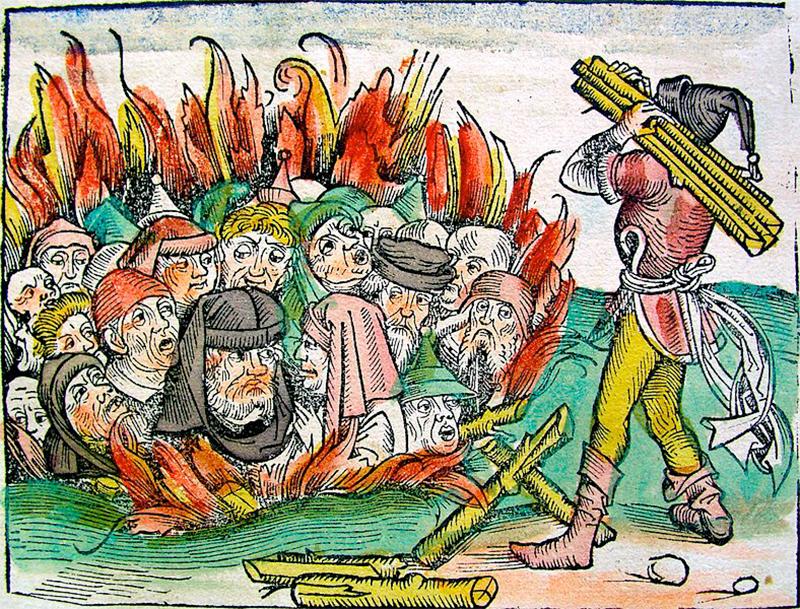 Juutalaisia poltetaan roviolla. Piirros nürnbergiläisen Hartman Schedelin maailmankronikasta Liber Chronicacum vuodelta 1493. Wikimedia Commons.