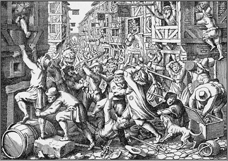 Frankfurtin Judengassen ryöstö 22.8.1614. Johann Ludwig Gottfriedin piirros teoksesta Historische Chronicken vuodelta 1633. Wikipedia.