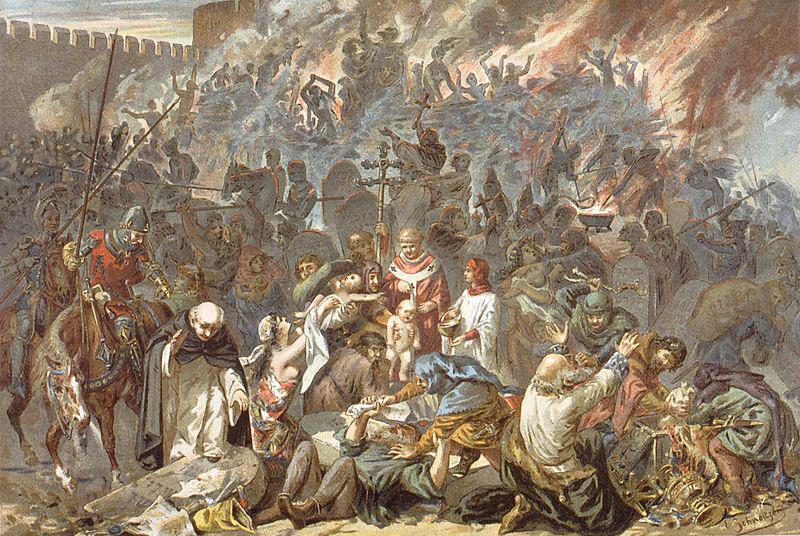 Strasbourgin pogromi 14.2.1349. Émile Schweitzerin maalaus vuodelta 1894. Wikimedia Commons.