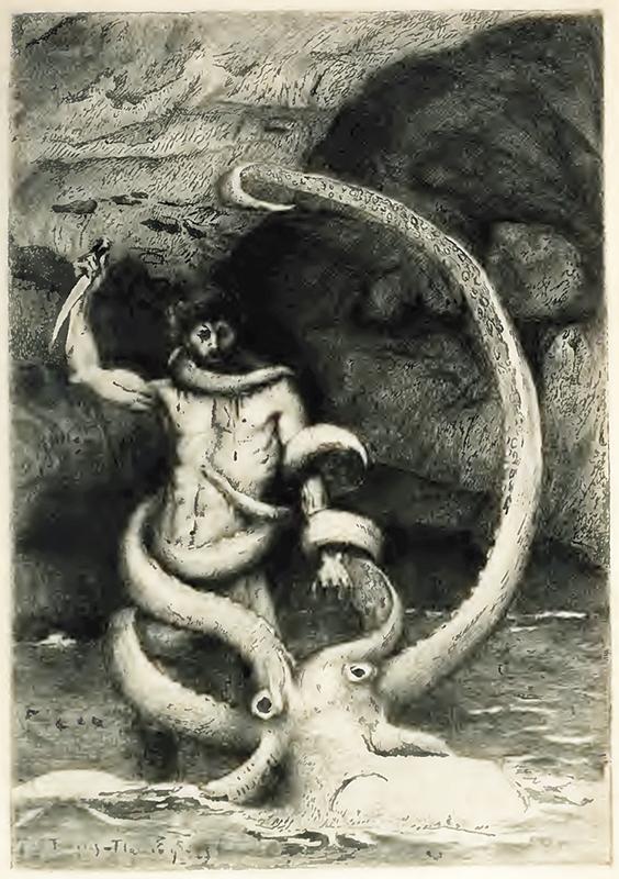La pieuvre hyökkää Gilliatin kimppuun. A. Monginin etsaus François Flamenging piirustuksesta. Victor Hugo: Toilers of the Sea (Boston: Estes & Lauriat 1900 [1866]).