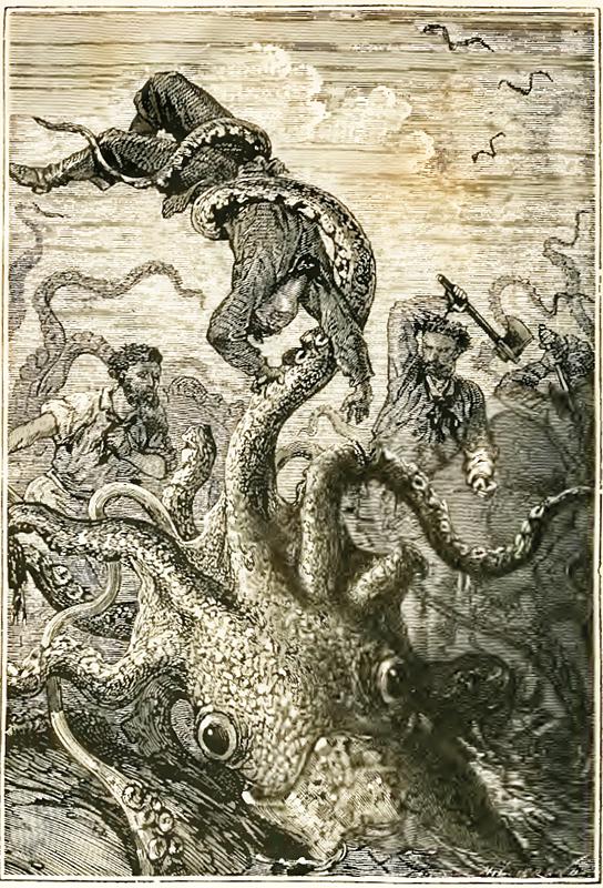 Jättiläiskalmari kuvitettuna Vernen romaaniin Vingt mille lieues sous les mers (Paris: J. Hetzel, 1871).