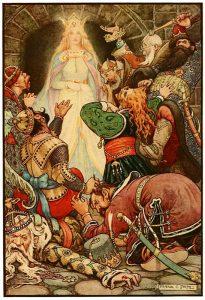 Prinsessa ja alamaisiaan Richard Wilsonin teoksessa The Russian Story Book, kuvitus Frank C. Papé (1916). Wikimedia Commons.