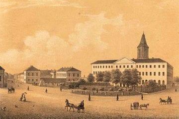 Turun Tuomiokirkko ja akatemia, edustalla hevoskärryjä ja ihmisiä.