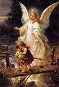 Maalaus jossa enkeli kulkee kahden siltaa ylittävän lapsen takana.