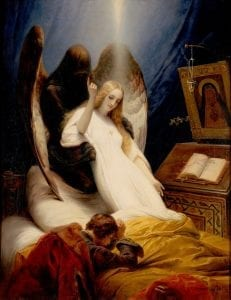 Maalaus, jossa musta kuolemanenkeli nostaa valkoisiin pukeutuneen nuoren naisen sängystä.