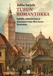 Kirjan kansi, jossa maalaus Turun tuomiokirkosta ja rakennuksista 1800-luvulla.