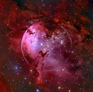Punertavasävyinen taidekuva maapallosta avaruudesta katsottuna.