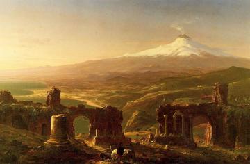 1800-luvulla tehty maalaus Sisilian Etna-tulivuoresta.