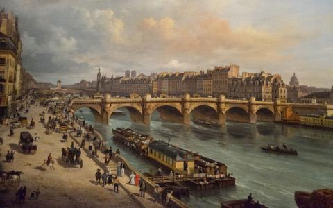 Giuseppe Canellan maalaus : Le Pont-Neuf et la Cité Paris.