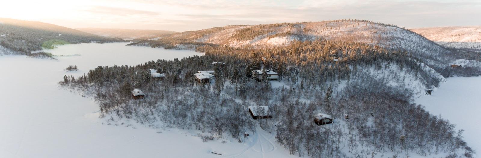 talvinen ilmakuva Kevonniemestä
