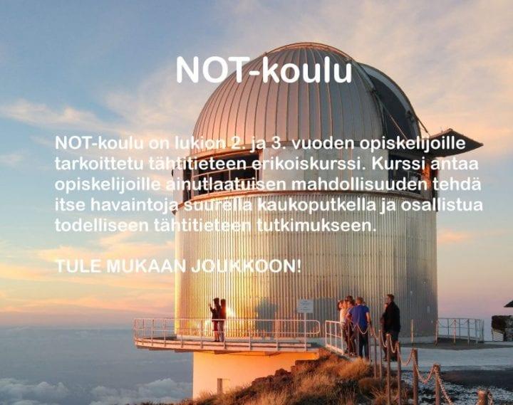 Kanariansaarilla sijaitseva yhteispohjoismainen NOT-kaukoputki. NOT-koulun kuvaus. Kuvan tiedot löytyvät sivun tekstisisällöstä.