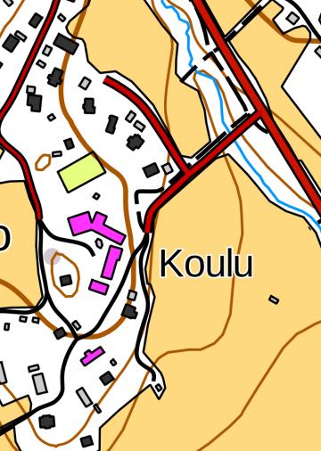 Maastokartta Kuusiston koulun alueesta