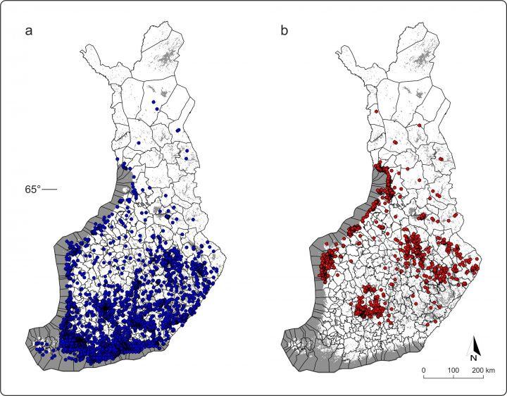 Puutiaisen (a) ja taigapunkin (b) levinneisyys Suomessa vuoden 2015 kansalaiskeräyksen perusteella