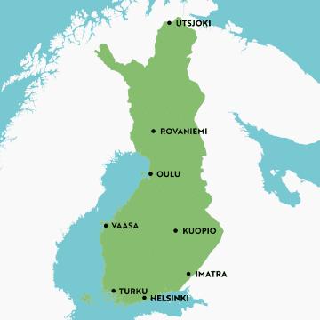 Kartta Suomen siitepölyn keräysverkostosta. Siitepölyä kerätään kahdeksalla paikkakunnalla: Turussa, Helsingissä, Imatralla, Kuopiossa, Vaasassa, Oulussa, Rovaniemellä ja Utsjoella.