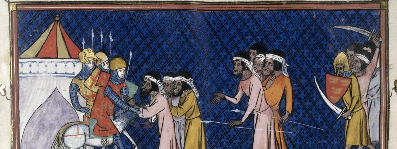 Attack by Saracens, BL Royal 16 G VI, f. 442