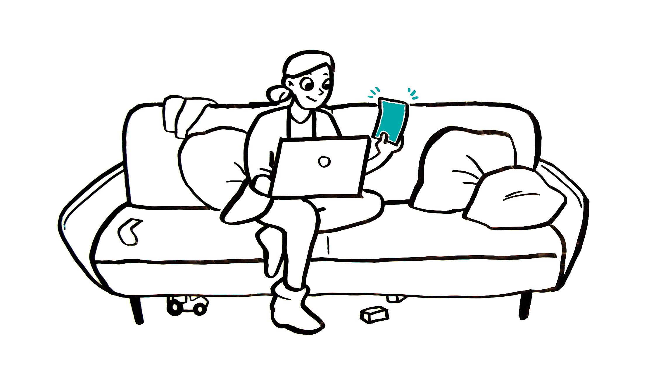 Vanhempi istuu sohvalla kannettavan tietokoneen kanssa ja on rekisteröitymässä Ole läsnä lapsellesi -ohjelmaan neuvolasta saadun koodin avulla.